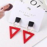 Sterling Silver Pin Earrings Korean Fashion All-match Creative Asymmetric Geometric Earrings Female Earrings 139541