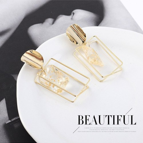 European and American Fashion All-match Earrings Women's Irregular Three-dimensional Square Hollow Acrylic Earrings 138895