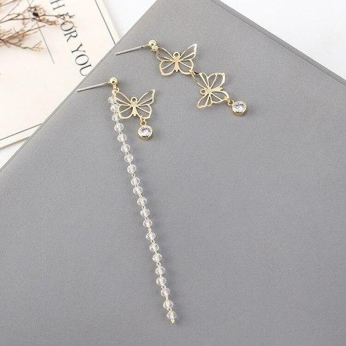 S925 Silver Needle Korean Fashion Temperament Butterfly Earrings Female All-match Creative Asymmetric Tassel Earrings 140552