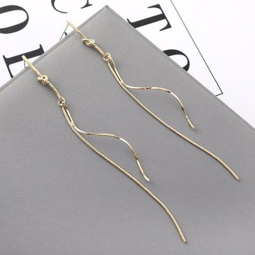 New Korean Fashion Simple Long Spiral S-Shaped Tassel Earrings Women 925 Silver Pin Small Jewelry 140037