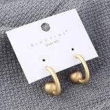 European C- Shaped Stud Earrings Female Half-round Ball Metal Earrings 925 Sterling Silver Needle Earrings 138865