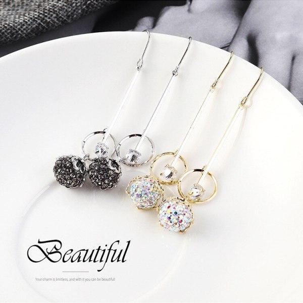 Korean Fashion Elegant Crystal Zircon Stud Earrings Female Ear Pendant Tassel Earrings Small Jewelry 138988