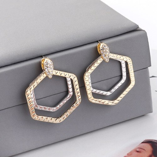 European Creative Simple Hexagonal Geometric Hollow Earrings Female All-match Anti-Allergy Sterling Silver Needle Earrings139539