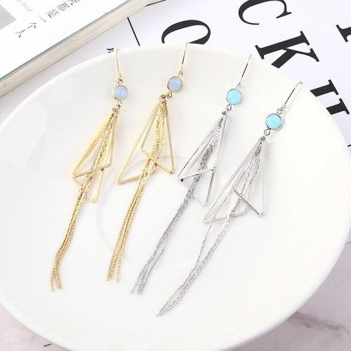 New Korean Simple Fashion Fashion Jewelry Triangle Long Tassel Earrings Female 138950