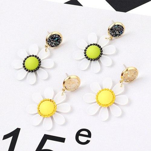 New European S925 Silver Needle Earrings Daisy Taiyanghua Earrings Female Resin Earrings Hipster Jewelry Wholesale 138693