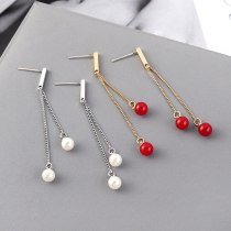 Korean Creative All-match Tassel Earrings Female Temperament Small Ball Pearl Earrings AntiAllergy Sterling Silver Needle 139546
