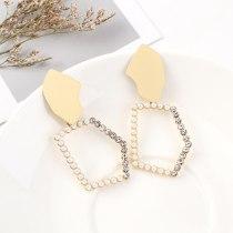 New European Cool Creative Diamond Set Pearl Earrings Female Fashion All-match Geometric Earrings S925 Silver Needle 140568
