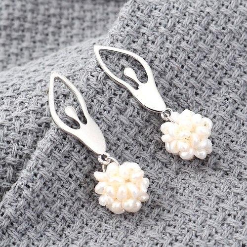 New Korean-Style All-match Ballet Girl's Earrings Elegant Fashion Pearl Ear Stud S925 Silver Needle Ear Stud Anti-Allergy 139557