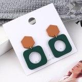 Korean-Style Fashion All-match Scrub Spray Paint Earrings Women's Square Geometric Cutout Earrings S925 Silver Ear Stud 139587