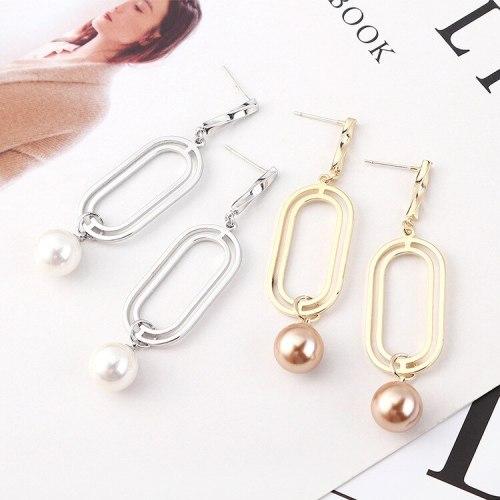 New Korean Fashion Pearl Earrings Women's Retro Simple Double Coils Geometric Cutout Earrings Silver Needle Stud Earrings 139895