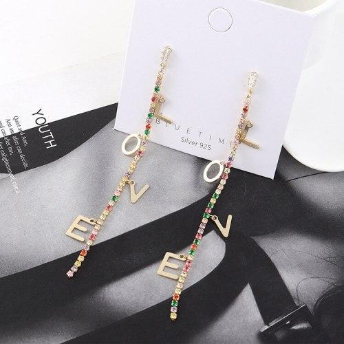 Korean Creative Love Lettered Ear Pendant Diamond Set Elegant Long Tassel Earrings Female S925 Silver Pin Jewelry B-4514