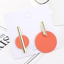 Korean Style Fashion Creative Asymmetrical round Plate Scrub Earrings Female All-match Cool S925 Silver Needle Ear Stud 140559