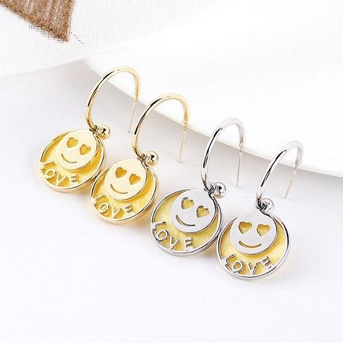 New European Love Lovely Earrings Female Cute Smile Earrings S925 Silver Needle Acrylic Smiley Face Stud Earrings 138719