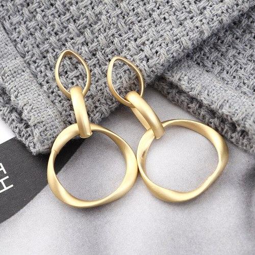 New European Fashion All-match Metal Earrings Women's Circle Geometric Hollow Ear Pendant Anti-Allergy Silver Needle 140028