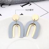New Popular European Simple Cool Earrings Fashion U-Shaped Letter Earrings Female 925 Sterling Silver Pin Small Jewelry 139888