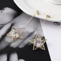 Korean Elegant Zircon Earrings Female Five-Pointed Star Tassel Earrings Anti-Allergy Sterling Silver Earrings Jewelry 138990