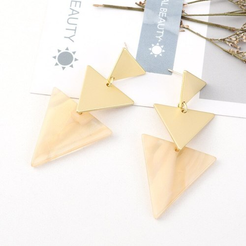 European and American Creative Cool Acrylic Earrings Ladies Fashion Exaggerated Triangle S925 Silver Needle Ear Stud 140507