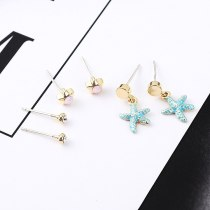 New European Fashion S925 Sterling Silver Earrings Female Simple Hipster All-match Five-Pointed Star Starfish Earrings 139005