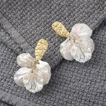 Korean Style Fashionable Elegant Shell Earrings Female All-match Hipster S925 Silver Needle Ear Stud Ornament 140153