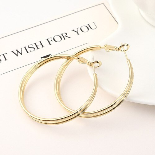 Korean Simple Cool Double-Layer Big Ring Earrings Female All-match S925 Silver Needle Stud Earrings Small Jewelry 140150
