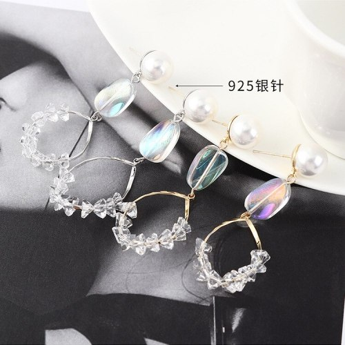 Korean-Style Vintage Pearl Earrings Women's Fashion Simple Crystal Ear Pendant S925 Pure Silver Pin Small Jewelry 140122