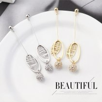 The New European Crystal Ball Earrings Hipster Wild Long Earrings Ms. Sterling Silver Needle Stud Earrings 139903