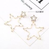 European Elegant Simple Five-Pointed Star Earrings Ladies Fashion Creative Personality S925 Silver Needle Stud Earrings 140477