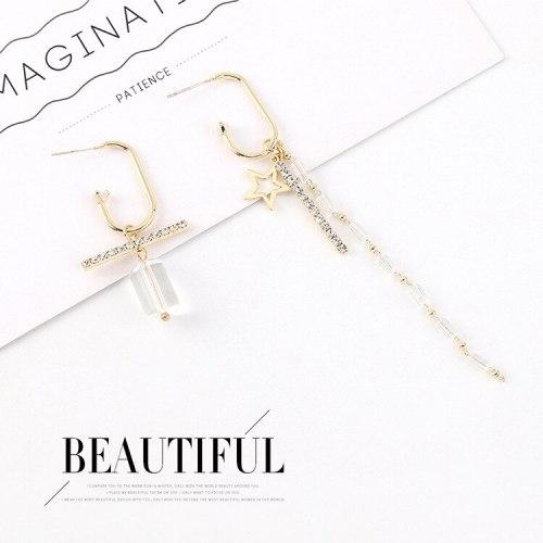 Korean Elegant Fashion Long Asymmetric Tassel Earrings Women's Creative Five-Pointed Star S925 Silver Needle Earrings 140551