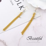 New European and American Exaggerated Cool Gold-Plated Spiral Tassel Earrings Women's Long Zircon Earrings 138914