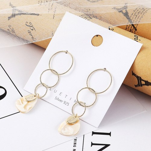 European Exaggerated Natural Shell Earrings Women S925 Silver Needle Earrings Long Tassel Stud Earrings 138714