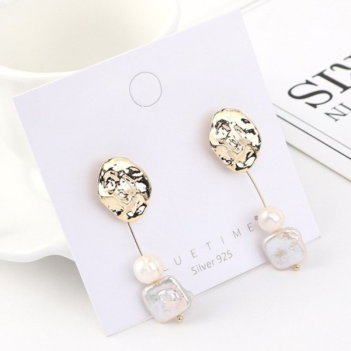 New European Retro Natural Pearl Earrings Female Cool All-match Irregular Small Lotus Leaf S925 Silver Needle Earrings 140562