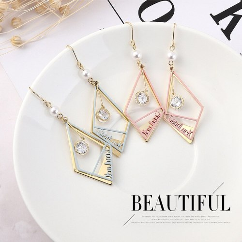 Korean-Style Small Jewelry Fashion Personalized Lettered Earrings Female Temperament All-match Diamond Ear Stud 138946