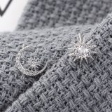 New Korean Simple All-match Star Moon Sun Earrings Female S925 Silver Needle Anti-Allergy Ear Stud Ornament Wholesale 139552