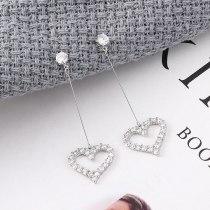 S925 Silver Needle Ear Stud Korean-Style Simple Elegant Zircon Earrings Female Long Hipster Lovely Ear Pendant 139540