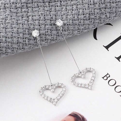 S925 Silver Needle Ear Stud Korean-Style Simple Elegant Zircon Earrings Female Long Hipster Lovely Ear Pendant 139540