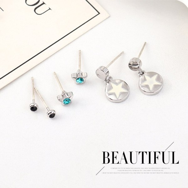 New Style All-match Hipster Five-Pointed Star Earrings Female Fashion Simple Temperament S925 Silver Needle Ear Stud 140498