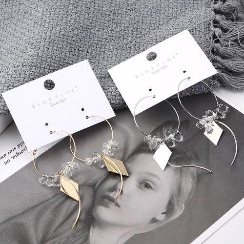 New Korean Fashion Creative Elegant Drop-Shaped Crystal Ear Stud Women's Simple Circle Geometric Hollow Tassel Earrings 139905