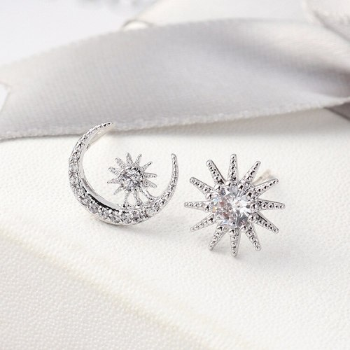 New Korean Simple All-match Star Moon Sun Earrings Female S925 Silver Needle Anti-Allergy Ear Stud Ornament Wholesale 139552
