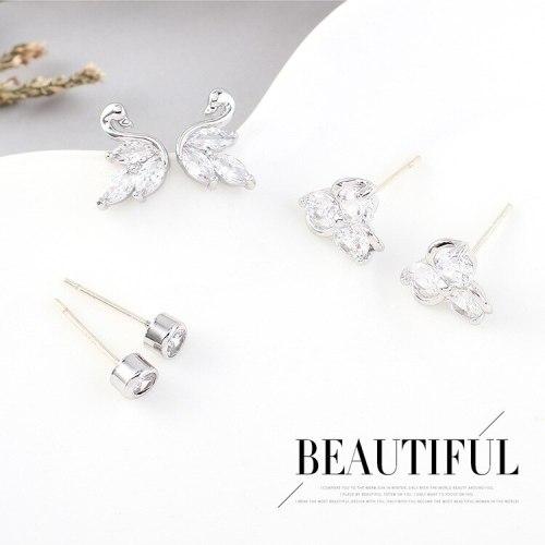 S925 Silver Needle Korean Simple Temperament Little Swan Earrings Female Fashion All-match Flower Zircon Earrings Jewelry 140474