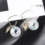 Korean  Exaggerated Earrings Women's All-match Leaves Crystal Ball Earrings Anti-Allergy S925 Sterling Silver Jewelry 138981