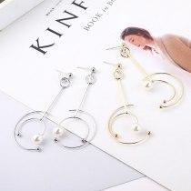 Korean Fashion Temperament Type C Earrings Female Planet Track Pearl Tassel Earrings 925 Sterling Silver Earrings 138970