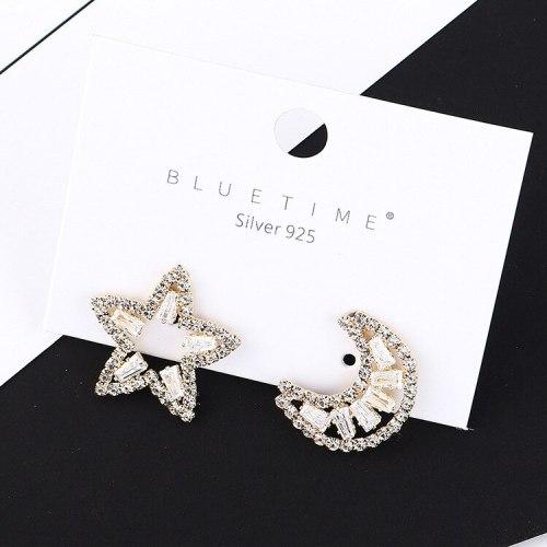 New Korean Style S925 Silver Needle Star Moon Ear Stud Female Temperament Asymmetric Zircon Earrings Fashion Jewelry 138725