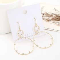 New Korean Fashion Elegant Zircon Earrings Women's Simple All-match Creative Cool Circle Ear Stud Wholesale 140547