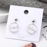 Korean-Style Simple Fashion Fashion Jewelry Circle Lettered Pearl Earrings Women S925 Silver Needle Ear Stud 138957