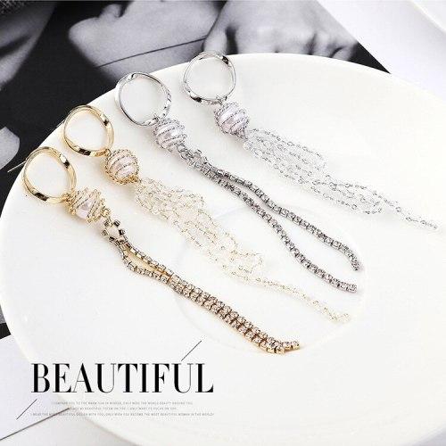 New Korean All-match Pearl Earrings Women's Fashion Asymmetric Tassel Earrings Anti-Allergy Sterling Silver Earrings 138999