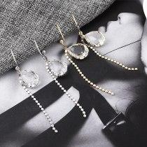 New Korean Fashion All-match Heart Glass Stud Earrings Women's Long Tassel Earrings 139000