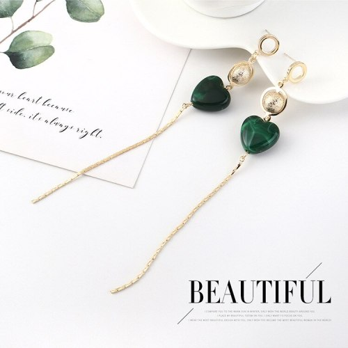 Korean-Style Creative Heart Resin Earrings Women's Long All-match Red Ear Pendant S925 Silver Needle Ear Stud 140680