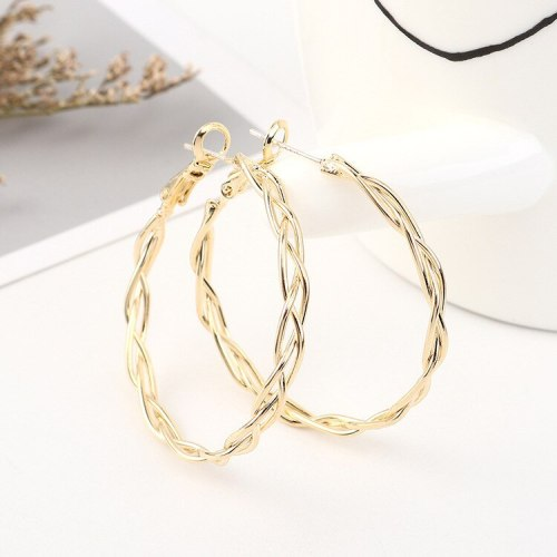 Korean Fashion Elegant Big Ring Earrings Women's Cool All-match Linen Flower Color Metal Earrings S925 Silver Needle 140570