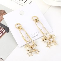 New European Creative Small Five-Pointed Star Earrings Cool All-match Crystal Earrings Female S925 Silver Needle 140478