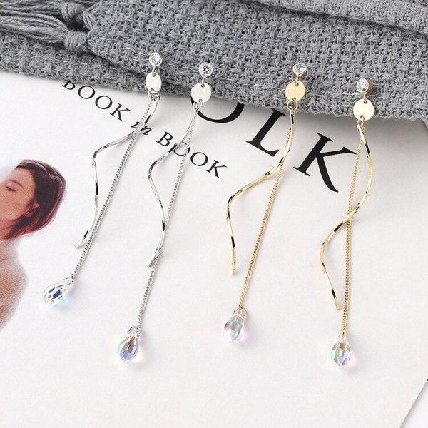 Korean Fashion Elegant Teardrop Crystal Earrings Women's All-match S-Shaped Spiral Long Tassel Earrings 925 Silver Pin 139899